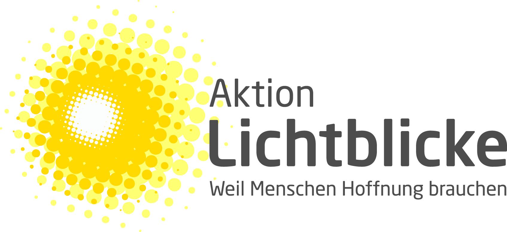 Logo der Aktion Lichtblicke: Sonne und Text: Weil Menschen Hoffnung brauchen