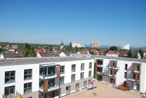 Gebäude des Wohnprojekts von oben