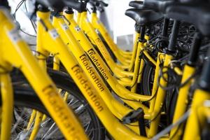 """Reihe gelber Fahrräder mit Aufdruck """"Radstation"""""""