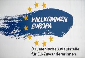 """Schild """"Willkommen Europa"""""""