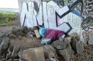 Schlafstelle eines Obdachlosen