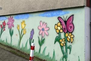 Mit Graffiti bemalte Mauer