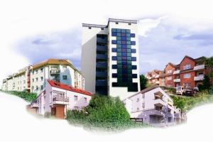 Fotokollage: Hochhaus, Mehrfamilienhäuser