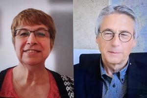 Gespräch per Videokonferenz: Helga Siemens-Weibring (links) und Jens Rautenberg tauschen sich über die Arbeit in der Diakonie Rheinland-Pfalz aus. (Screenshot)