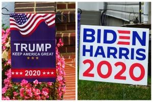 Wahlplakate in US-amerikanischen Vorgärten (Fotos: Shutterstock)