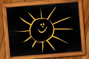 Sonne auf einer Kreidetafel