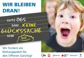 """Banner zur Kampagne: """"Gute OGS darf keine Glückssache sein"""""""