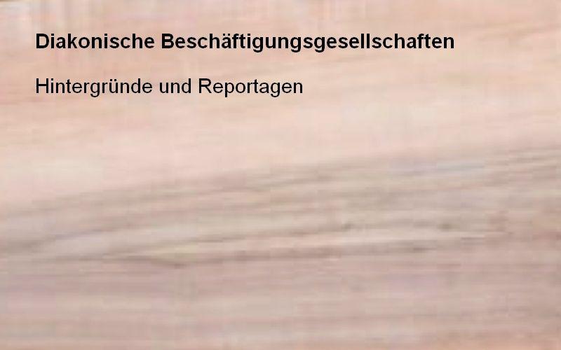 Holztafel mit Aufschrift: Diakonische Beschäftigungsgesellschaften - Hintergründe und Reportagen