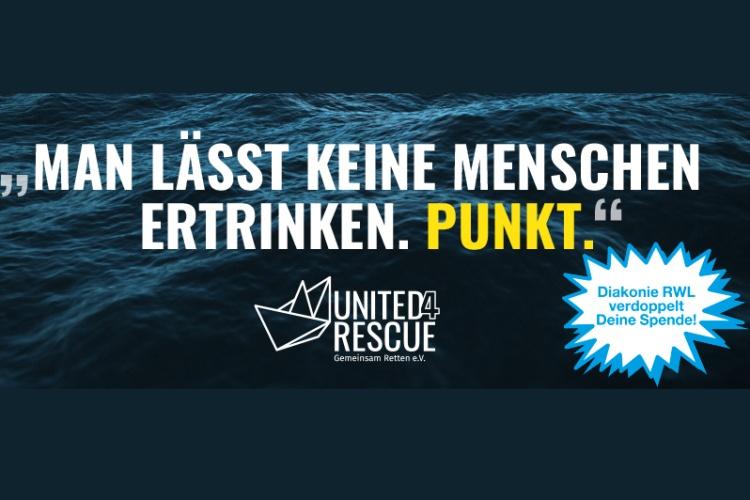 """Die Diakonie RWL sammelt Spenden für das Bündnis """"United4Rescue""""."""