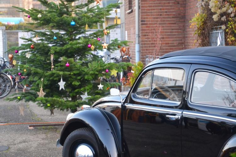 Tannenbaum vor der Kfz-Werkstatt: Im Jugendwerk Köln lernen die Teilnehmenden, Autos zu reparieren.