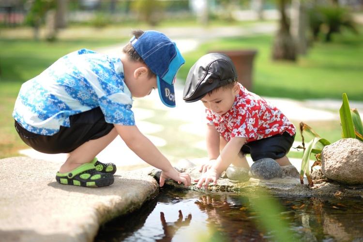 Im Teich in der Nähe nach Fröschen suchen: Zwei Brüder schauen, ob sie kleine Tiere im Wasser finden. (Foto: Pixabay)