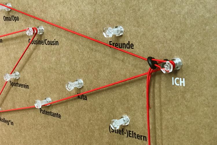 Ein Faden verbindet den Einzelnen mit seinen Verwandten, Freunden und Menschen, die ihm nahe stehen. In der interaktiven Ausstellung wird dieser Faden sichtbar. (Foto: Herbst)
