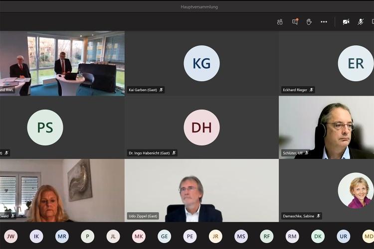 Screenshot der Videokonferenz zur Hauptversammlung