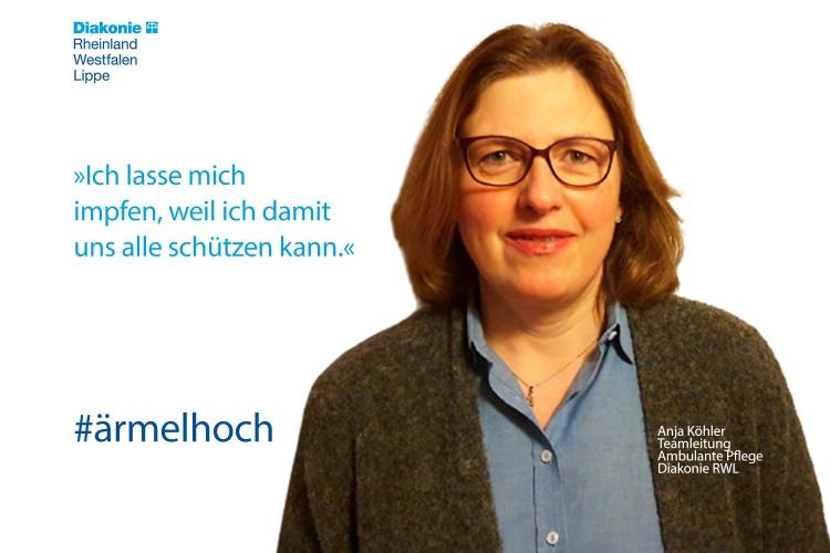 """""""Ich lasse mich impfen, weil ich damit uns alle schützen kann"""", sagt Anja Köhler, Teamleiterin der ambulanten Pflege."""