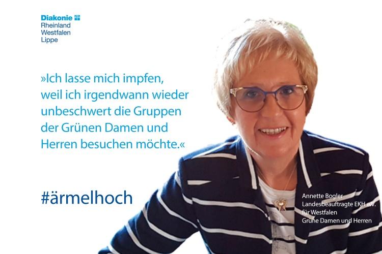 Annette Bogler, Landesbeauftragte der Grünen Damen und Herren in Westfalen, mit einem Impfstatement (Foto: privat)
