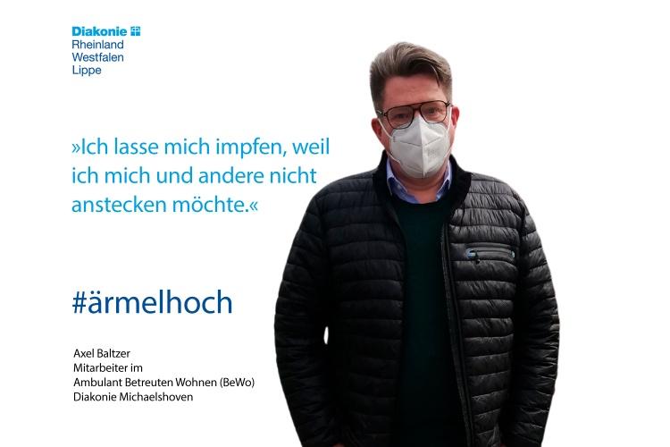 """Axel Baltzer arbeitet im Ambulanten Wohnen der Diakonie Michaelshoven: """"Ich lasse mich impfen, weil ich mich und andere nicht anstecken möchte."""""""