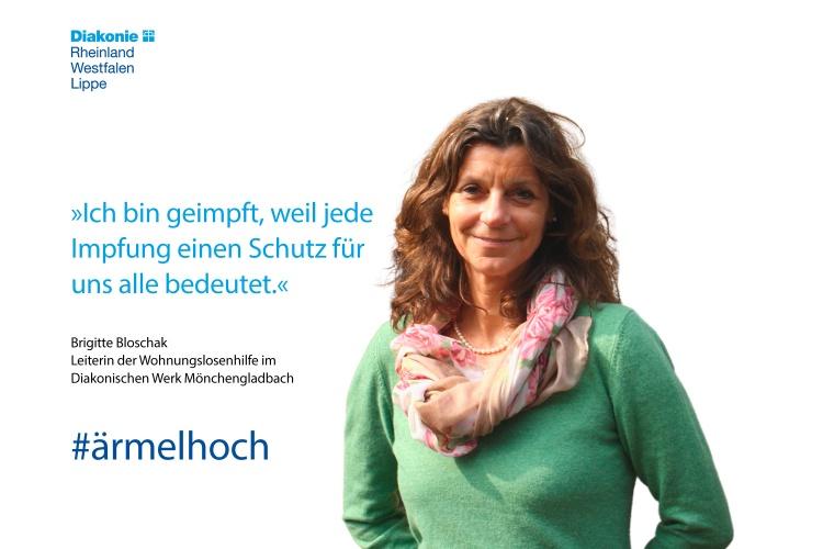 Impfstatement von Brigitte Bloschak von der Wohnungslosenhilfe des Diakoniewerks Mönchengladbach (Foto:Portmann/Diakonie RWL)