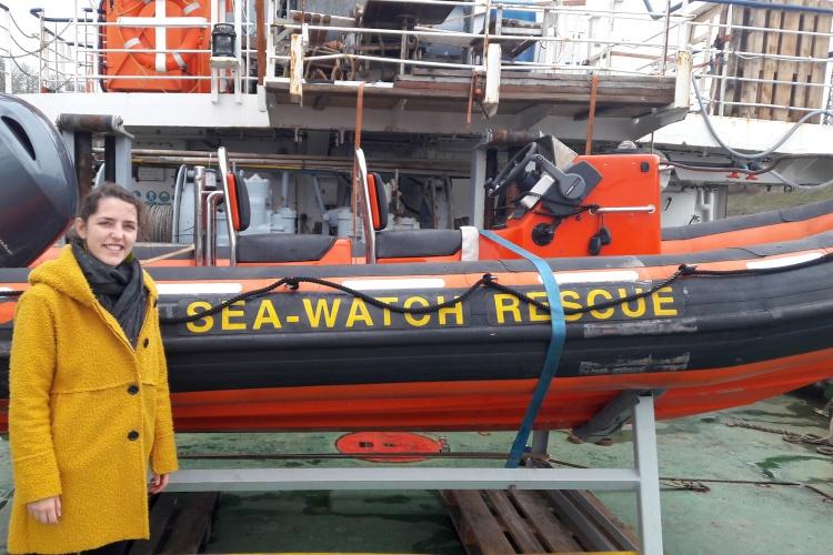 Diakonie RWL-Migrationsexpertin Susanna Thiel auf der Jungfernfahrt des Seenotrettungsschiffes Sea-Watch-4