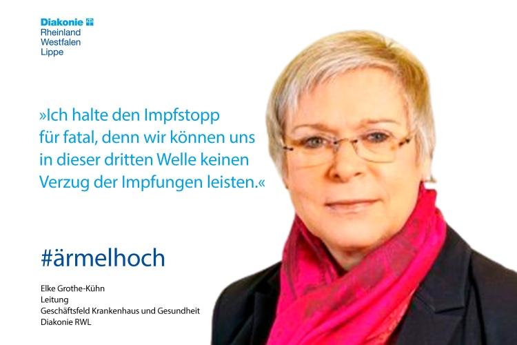 Elke Grothe-Kühn, Gesundheitsexpertin der Diakonie RWL, mit einem Impfstatement (Foto:privat)