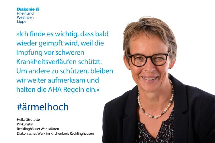 Heike Strototte, Leiterin der Recklinghäuser Werkstätten der Diakonie, mit einem Impfstatement (Foto: Diakonie im Kirchenkreis Recklinghausen)