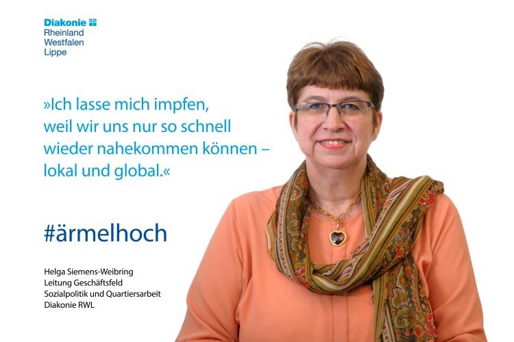 Helga Siemens-Weibring, sozialpolitische Beauftragte der Diakonie RWL, hat sich gegen Covid-19 impfen lassen.