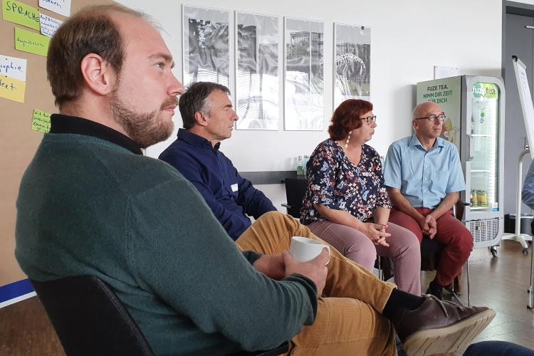 Alexander Engel (von links), Wolfram Schül, Christiane Wallat und Jürgen Etzel während der Tagung der Betreuungsvereine der Diakonie RWL.