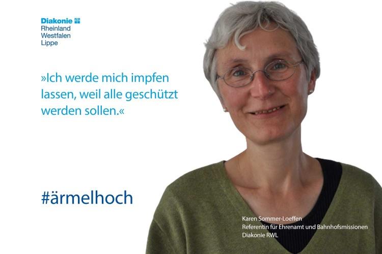 Diakonie RWLReferentin Karen Sommer-Loeffen mit Impfstatement (Foto: Diakonie RWL)