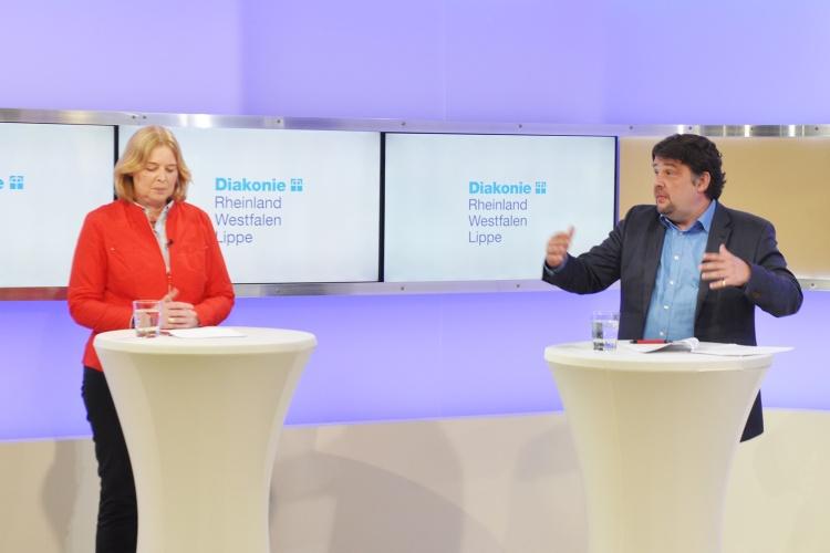 Bärbel Bas (SPD) und Dennis Radtke (CDU) beim Live-Polit-Talk der Diakonie RWL