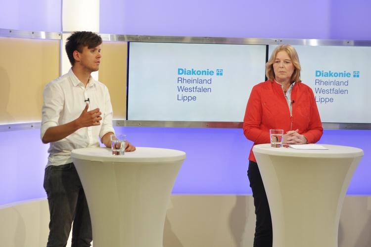 Max Lucks (Grünen) und Bärbel Bas (SPD) beim Live-Polit-Talk von der Diakonie RWL