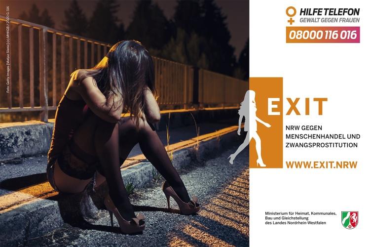 Plakat gegen Zwangsprostitution der Landesinitiative Exit.NRW
