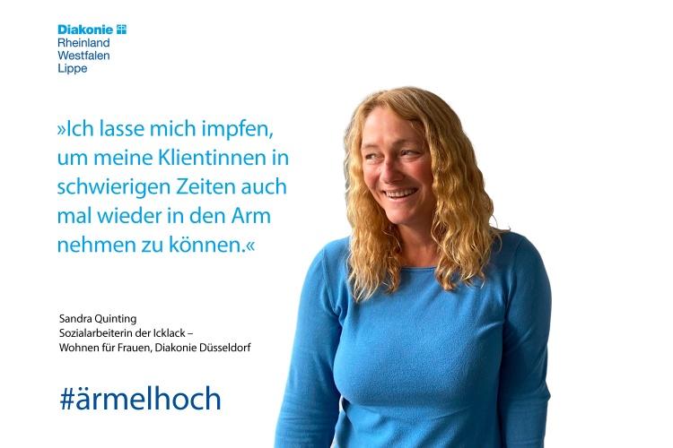 Impfstatement von Sandra Quinting von der Wohnungslosenhilfe der Diakonie Düsseldorf (Foto Volkenandt/Diakonie Düsseldorf)
