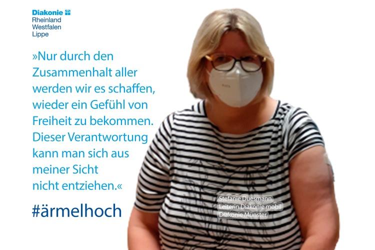 """""""Nur durch den Zusammenhalt aller, werden wir es schaffen, wieder ein Gefühl von Freiheit zu bekommen"""", sagt Stefanie Duesmann, Leiterin des ambulanten Pflegedienstes """"Diakonie mobil"""" der Diakonie Münster."""