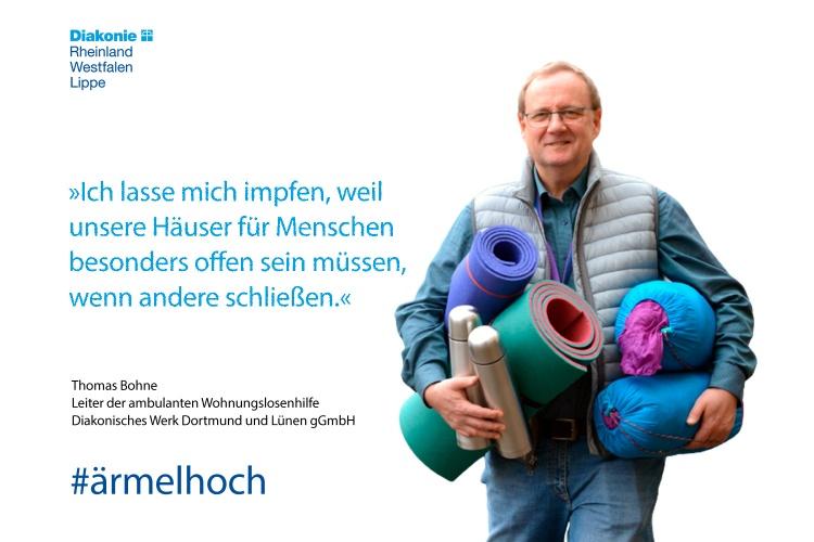 Impfstatement von Thomas Bohne von der Wohnungslosenhilfe der Diakonie Dortmund (Foto:Cocu/Diakonie Dortmund)