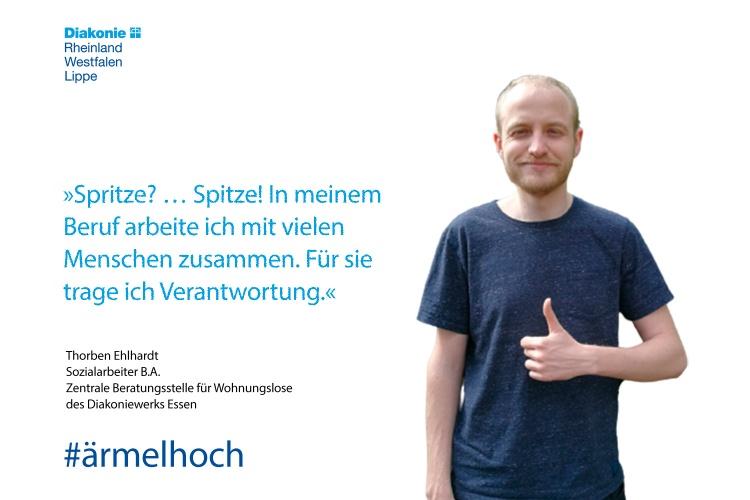 Impfstatement von Thorben Ehlhardt von der Wohnungslosenhilfe der Diakonie Essen (Foto: Fiedler/Diakonie Essen)