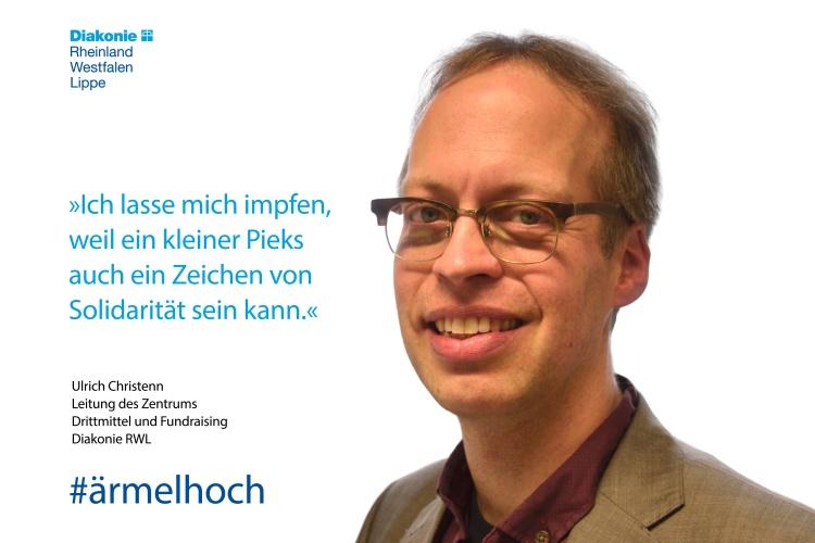 """Ulrich Christenn, Leiter des Zentrums Drittmittel und Fundraising, """"Ich lasse mich impfen, weil ein kleiner Pieks auch ein Zeichen von Solidarität sein kann."""""""