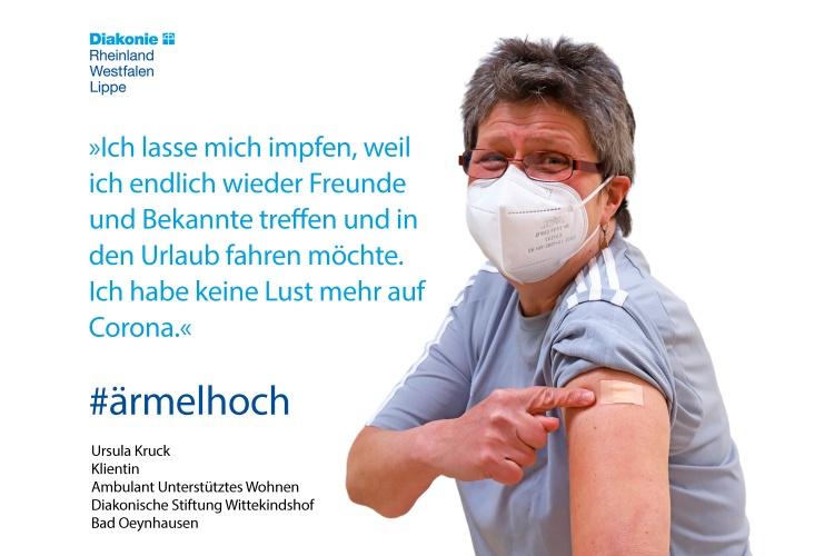 Ursula Kruck wird in ihrer eigenen Wohnung ambulant unterstützt. Sie hat sich impfen lassen.