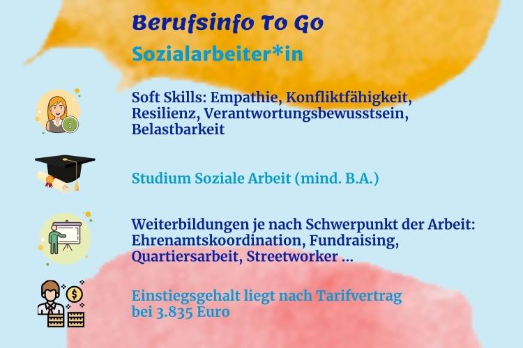 Infografik zum Beruf der Sozialarbeiterin (Herbst/Diakonie RWL)